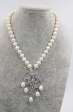 ФОТО  freshwater pearl white near round  9-1`0mm  necklace and flower pendant 18inch fppj wholesale beads nature