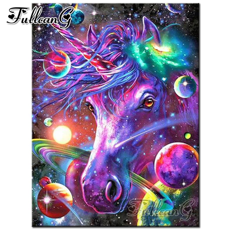FULLCANG diy mosaic full embroidery purple unicorn animal handmade diamond painting square round drill rhinestone picture FC672 in Diamond Painting Cross Stitch from Home Garden