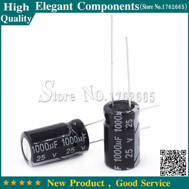 100 CÁI 1000 UF 25 V 25 V/1000 UF Nhôm điện phân tụ 25 V 1000 UF Kích Thước 10*17 mét tụ Điện