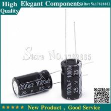 100 Uds 1000 UF 25 V, 25 V/1000 UF condensador electrolítico de aluminio 25 V 1000 UF tamaño 10*17mm condensador electrolítico