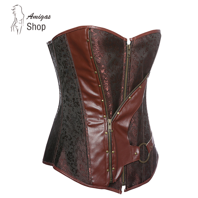 18f979a9d8 Brown Retro Brocade Gothic 12 Boned Bustiers Steampunk Corset Leather  Underbust Corset Tops Shaperwear Zipper Lacing