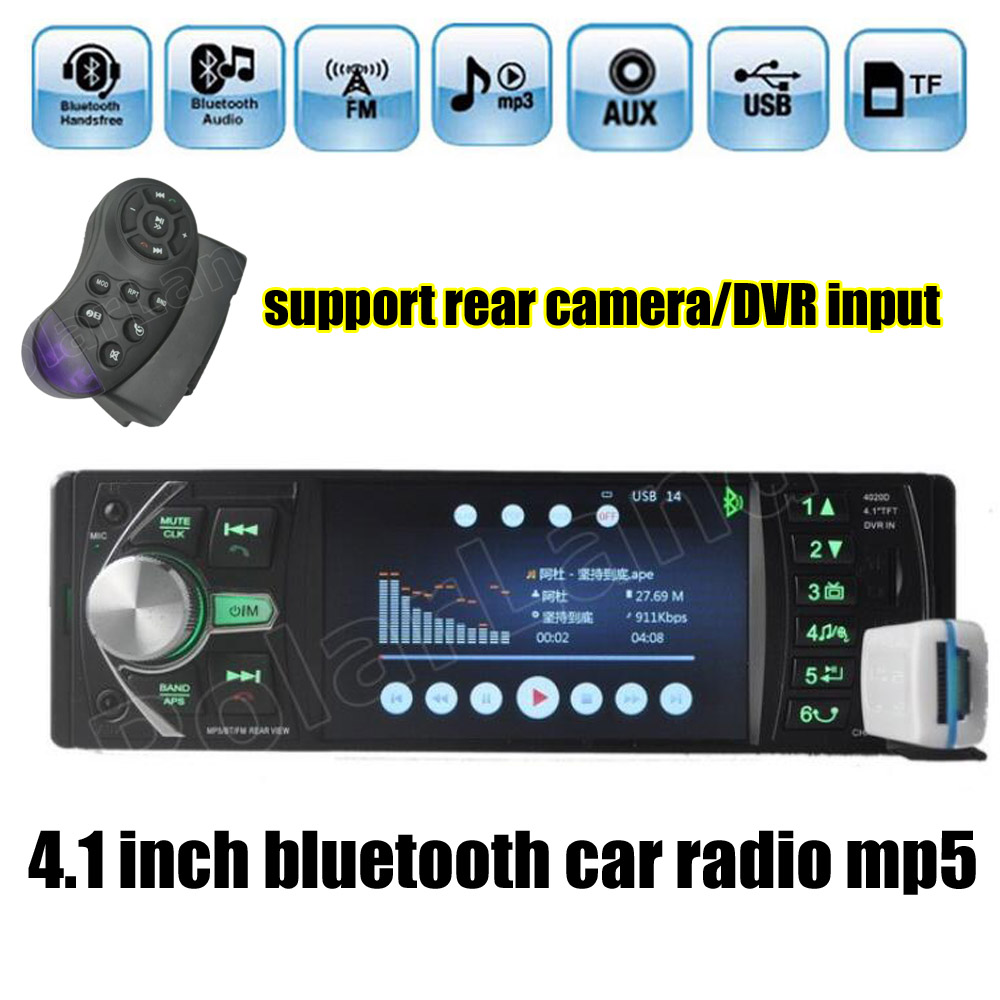 free shipping 4.1'' inch car radio Support DVR/AUX input USB TF with steering wheel remote control 1 din car audio stereo MP5 12v 4 1 inch hd bluetooth car fm radio stereo mp3 mp5 lcd player steering wheel remote support usb tf card reader hands free