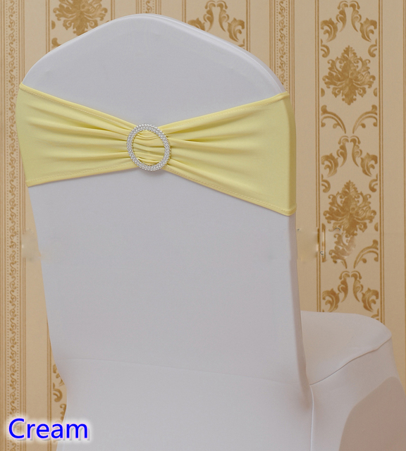 cream chair covers for weddings bistro cushions spandex sash with round buckles colour wedding decoration sashes lycra stretch band ribbon