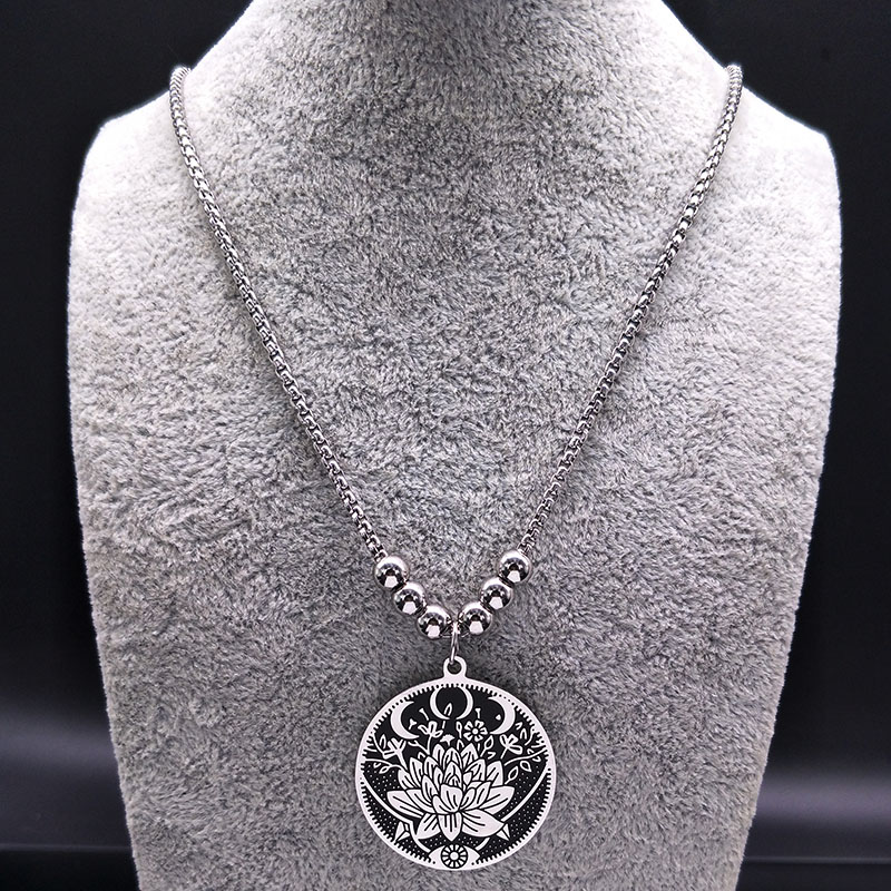 2019 Wicca Lotus Stainless Steel Necklaces Pendants for Men Black Silver Color Long Necklace Jewelry colgante hombre N18517 in Pendant Necklaces from Jewelry Accessories