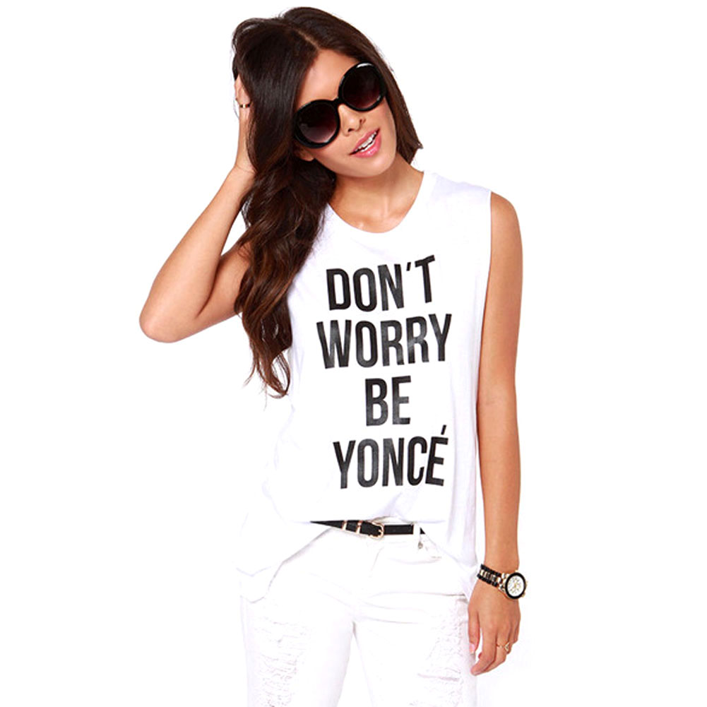 Summer Letter White Tank Top Camisetas Y Tops Fitness Women Ropa Mujer Plus Size Women Tops 2015 Tee Shirts