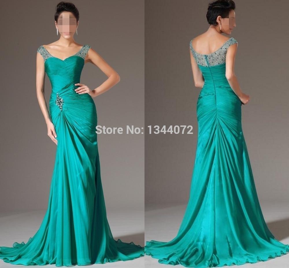 Green Elegant Mermaid Chiffon Floor Length Formal Evening Dresses Straps V Neck Crystal Beaded Long Party Prom Dresses in Evening Dresses from Weddings Events