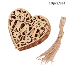 10pcs Modern DIY Wooden Heart Embellishments Crafts Hanging Ornament for Wedding Party Decor J2Y