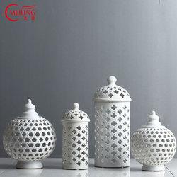 Handmade Hollow Circle Tube Storage Tank Jar White Ceramic Flower Vase Decoration Candle Holder Multi-Function Room Accessories