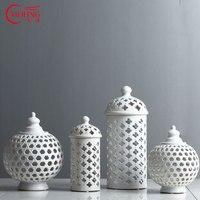 Handmade Hollow Circle Tube Storage Tank Jar White Ceramic Flower Vase Decoration Candle Holder Multi Function Room Accessories