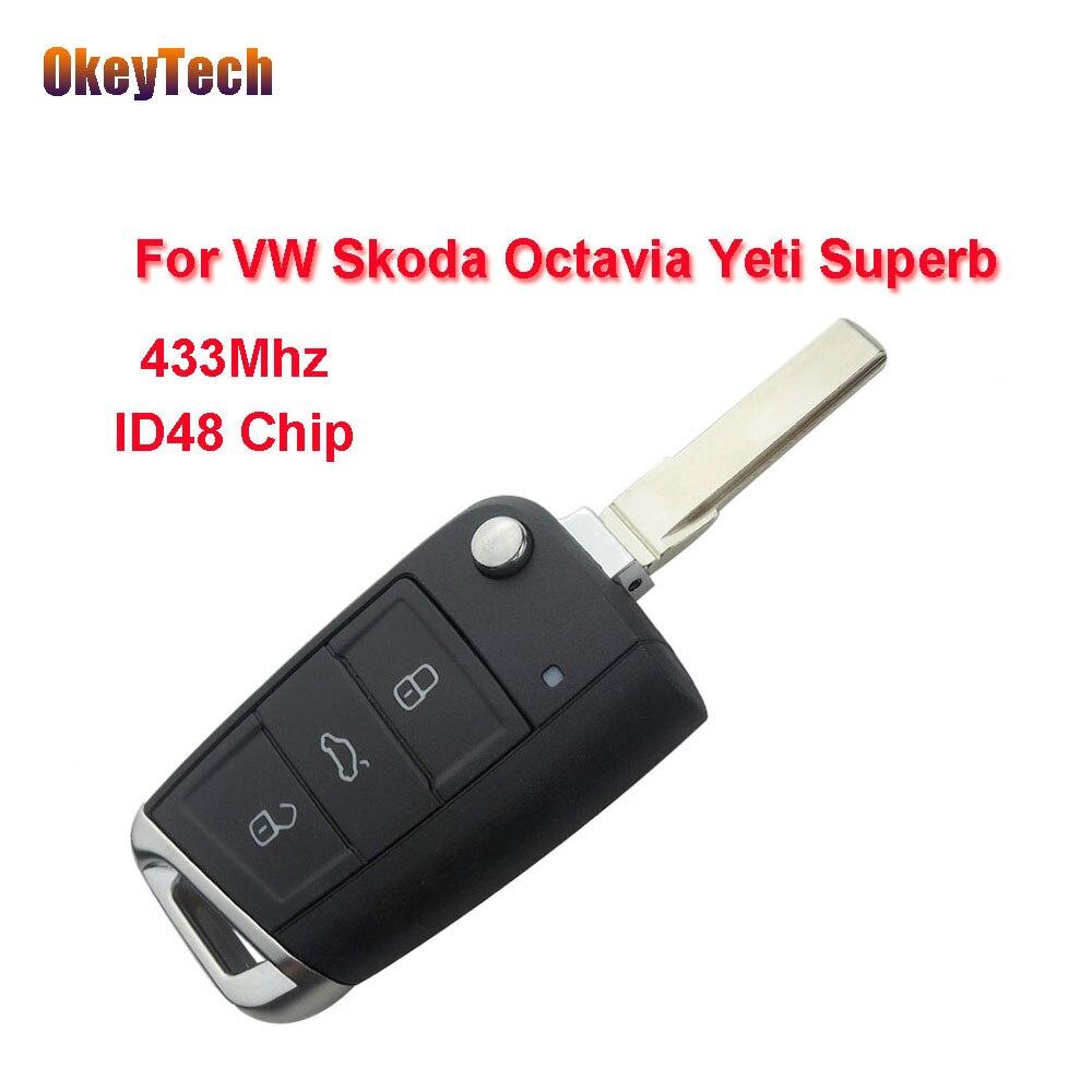 OkeyTech Remote Key for VW 433Mhz ID48 Chip Flip Folding for VW Skoda Octavia Yeti Superb