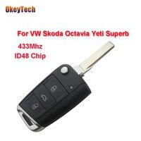 OkeyTech Remote Key for VW 433Mhz ID48 Chip Flip Folding for VW Skoda Octavia Yeti Superb 5G6959753AG Car Keyless Entry 3 Button