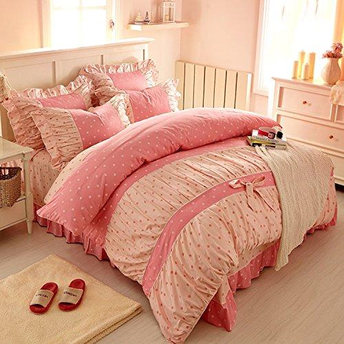 Sweet Pink Polka Dot Print Fairy Bedding Set,Delicate Korean Ruffed Bed Sheet Set,Modern Girls Princess BeddingSweet Pink Polka Dot Print Fairy Bedding Set,Delicate Korean Ruffed Bed Sheet Set,Modern Girls Princess Bedding