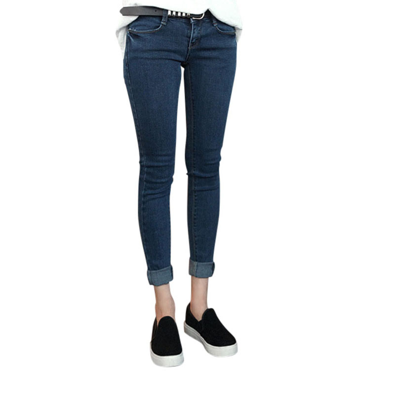Spring 2017 Korean Style Thin Waist Jeans Pants Casual Stretch Jeans Female Feet Slim Pencil Pants WY-01