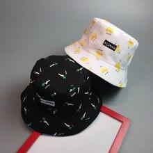 Moda mujeres sombrero francés patatas fritas plátano impreso Cap dos lado  reversible gorras señoras playa protector ff56955f8e6
