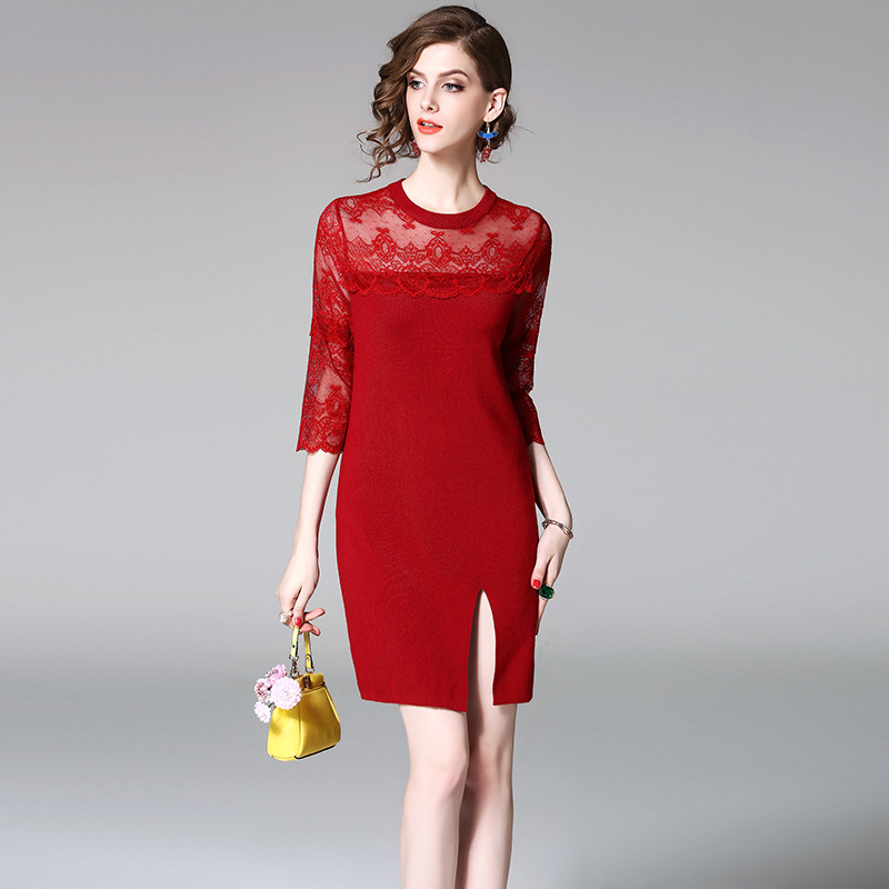 Sweater Dress 2017 Womens Fashion Round Neck Solid Patchwork Lace Embroidery Split A-Line Knitted Dresses Female Red Black
