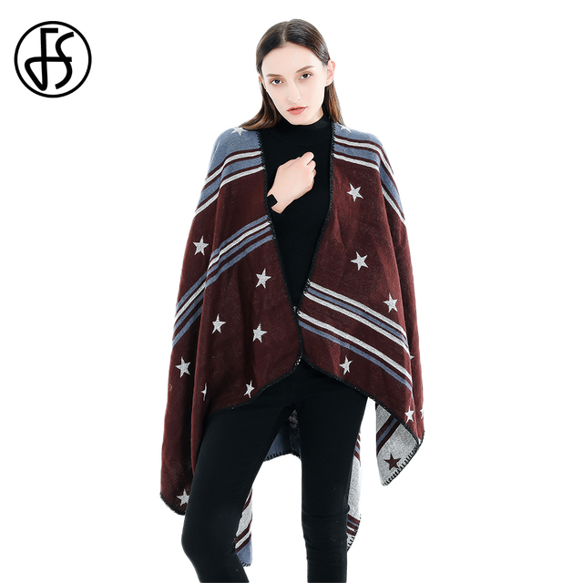 829aa514b FS Brand 2018 Cashmere Scarf Red Star Striped Women Autumn Winter Ponchos  And Capes Knit Thick