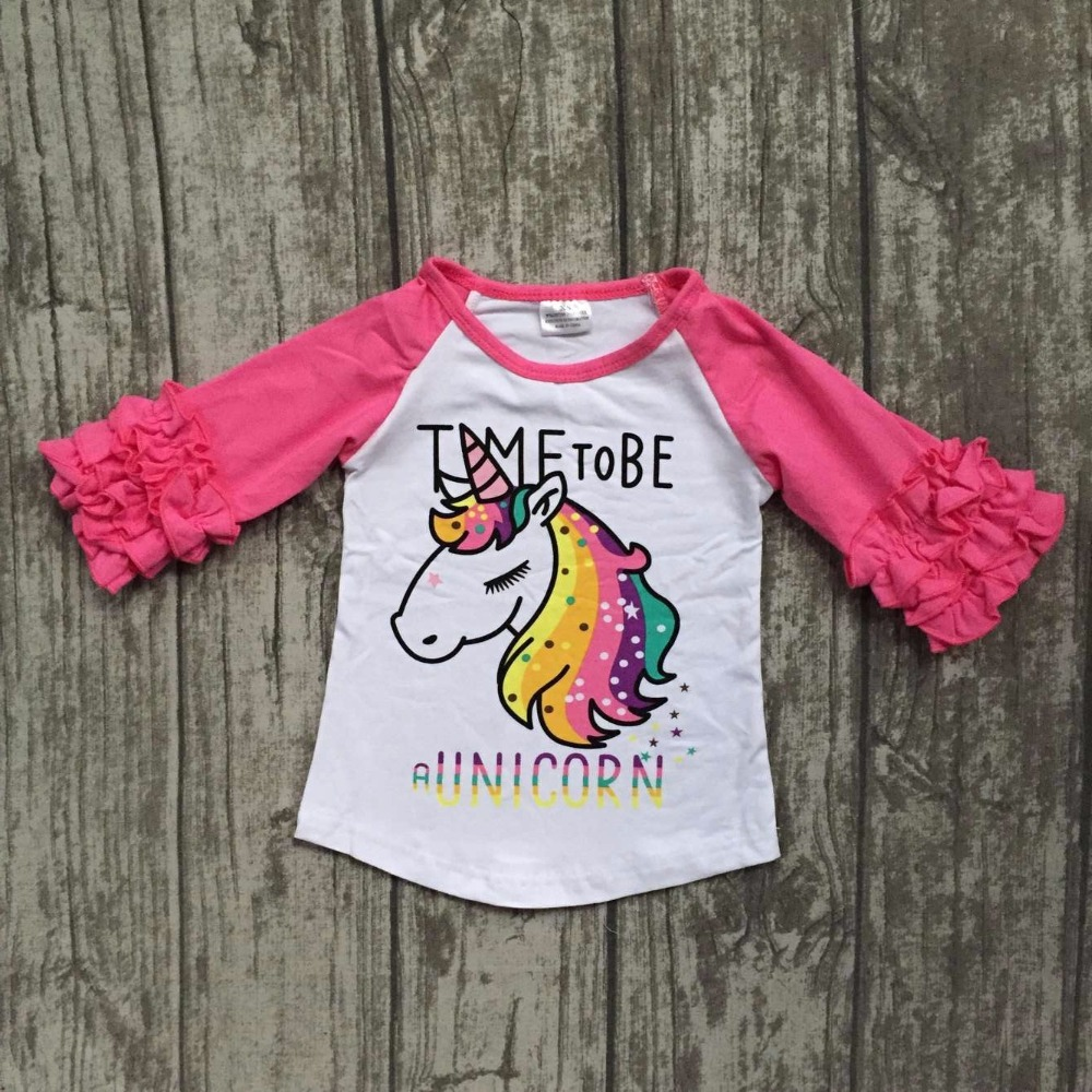 baby girls Fall boutique clothing girls time to be a unicorn raglans girl top t-shirts children clothes hot pink sleeve raglans виниловые обои marburg ornamental home 55209