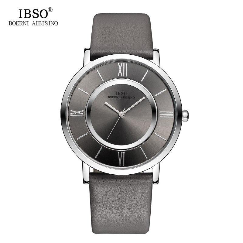 IBSO 7MM Ultrathin Watch Men 2017 Genuine Leather Strap Gray Fashion Double Dial Clock Male Waterproof Quartz Wristwatch Relogio jubaoli rotatable bezel male watch quartz leather strap wristwatch