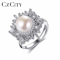 CZCITY Snowflake 925 Sterling Silver Engagement Finger Ring Freshwater Natural Pearl CZ Ring Female Jewelry Size