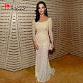 Luxury Ivory Cream Mermaid Boat Neck Pearls Red Carpet Grammy Awards Celebrity Dresses 2016 Three Quarter Sleeves Liyatt