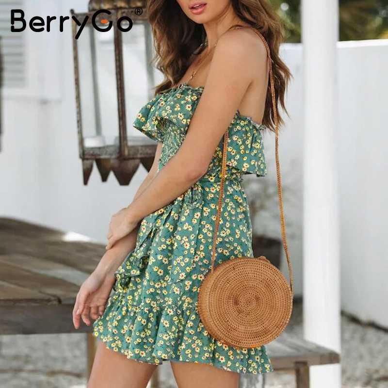 BerryGo без лямок с цветочным рисунком женское платье-труба богемная элегантная юбка с оборками с завышенной талией женское платье сексуальное летнее платье без рукавов