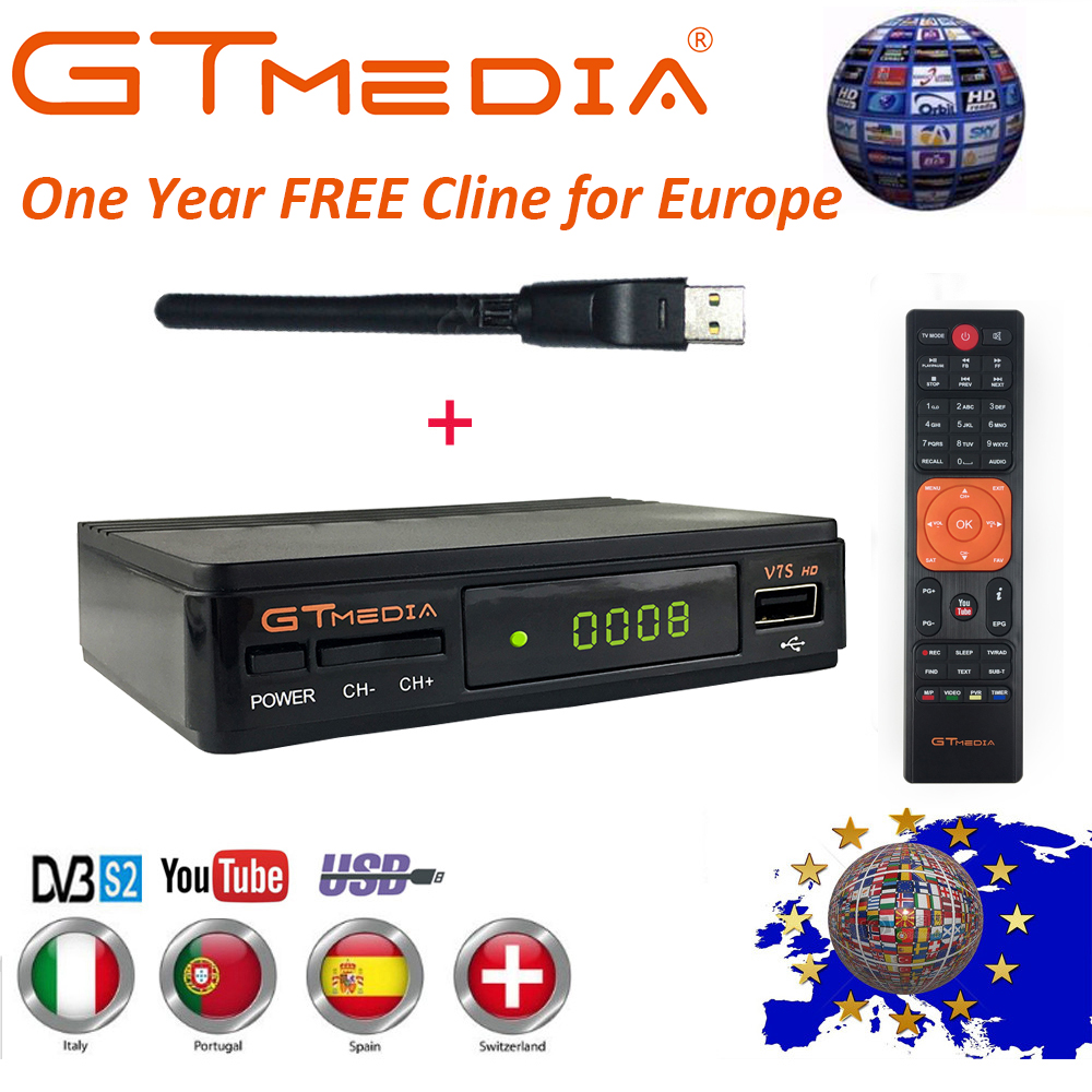 Véritable 1 an Europe Cline GT Media V7S DVB-S2 récepteur Satellite + USB WIFI 1080 P HD Support récepteur Youtube PowerVu Biss PVR