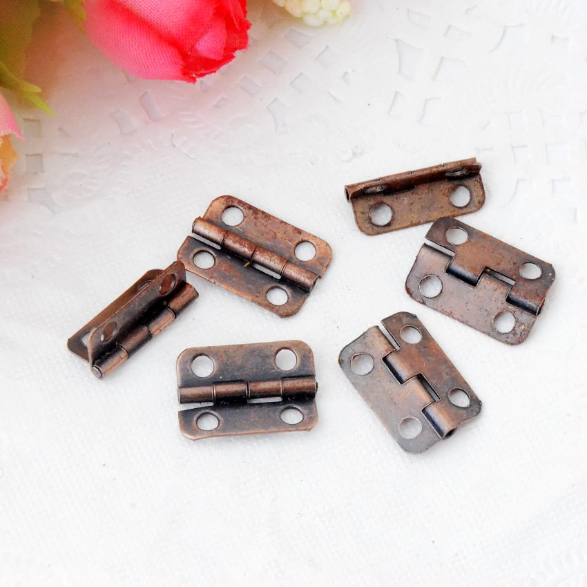 Free Shipping 50pcs Copper Tone Hardware 4 Holes DIY Box Butt Door Hinges (Not Including Screws) 16x11mm J3020