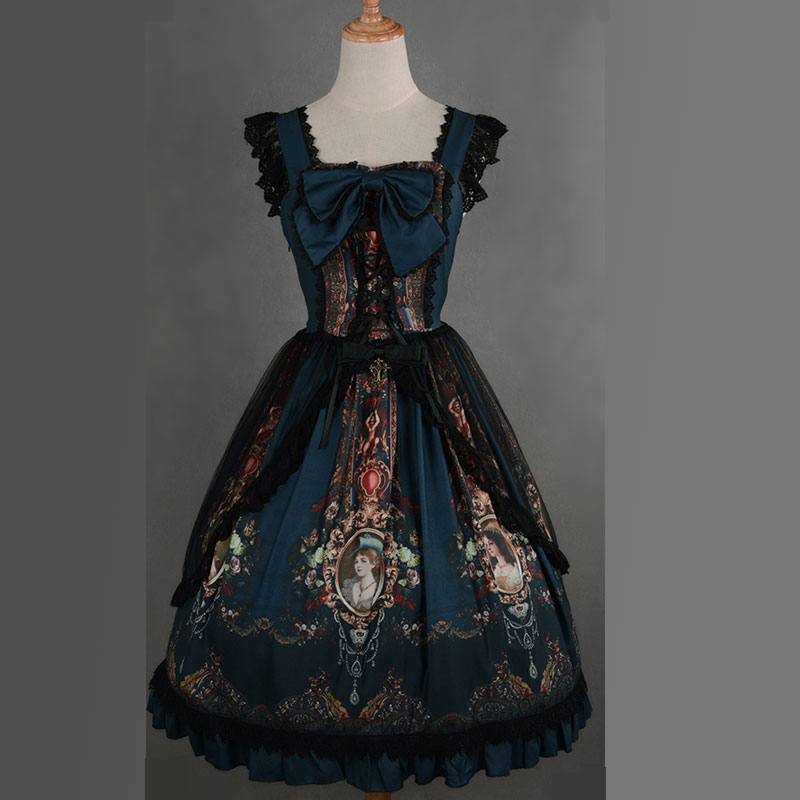 Soufflesong Exclusive Design Lolita Dress The Rococo World Printed Vintage Lolita JSK with Lace Overcoat
