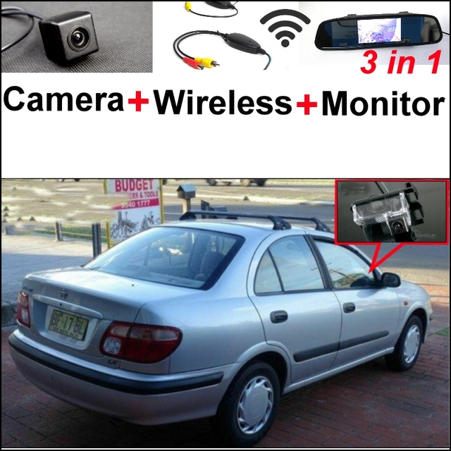 3 in1 Special Camera + Wireless Receiver + Mirror Monitor Easy DIY Backup Parking System For NISSAN Pulsar N16 2000~2005