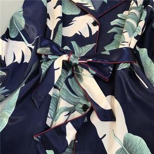 Image 4 - Женский пижамный комплект с цветочным принтом, атласная пижама с длинными рукавами, пижамный комплект на весну и лето