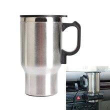 Envío Libre 12 V para Preparar Té Café Agua Auto Calentador Eléctrico Calentador de Taza Del Coche Taza de Plata