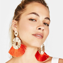 New Big Tassel Earrings for Women Summer Jewelry Long Drop Earings Hanging Fringed Bohemian Fashion Womens 2019