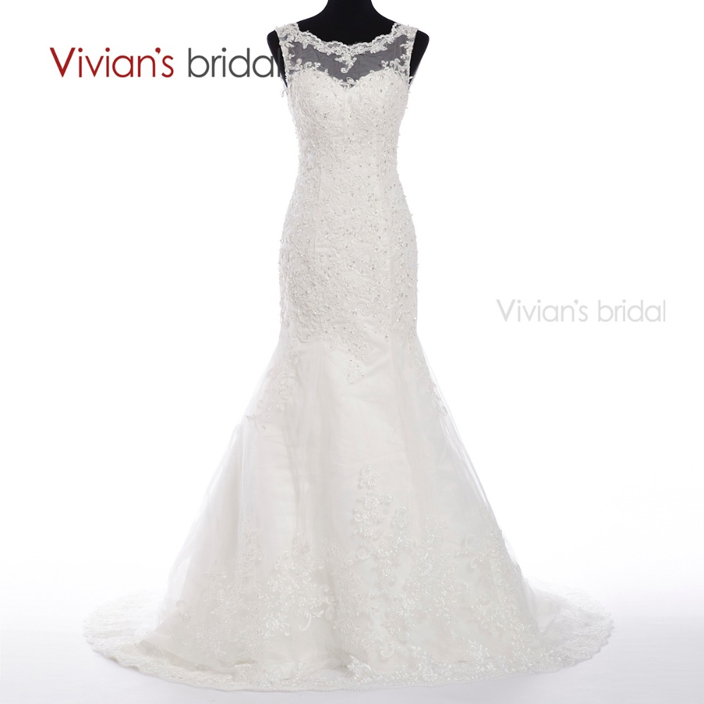 Foto Gaun Menyapu Bunga Renda Mermaid Pakaian Perkahwinan putih Appliques Gaun Pengantin vestido de noiva