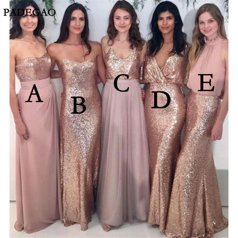 Simple   Bridesmaid     Dresses   A Line Sleeveless Sequined Mismatched Long Wedding Party 2019   Bridesmaids     Dresses   Prom Custom Made
