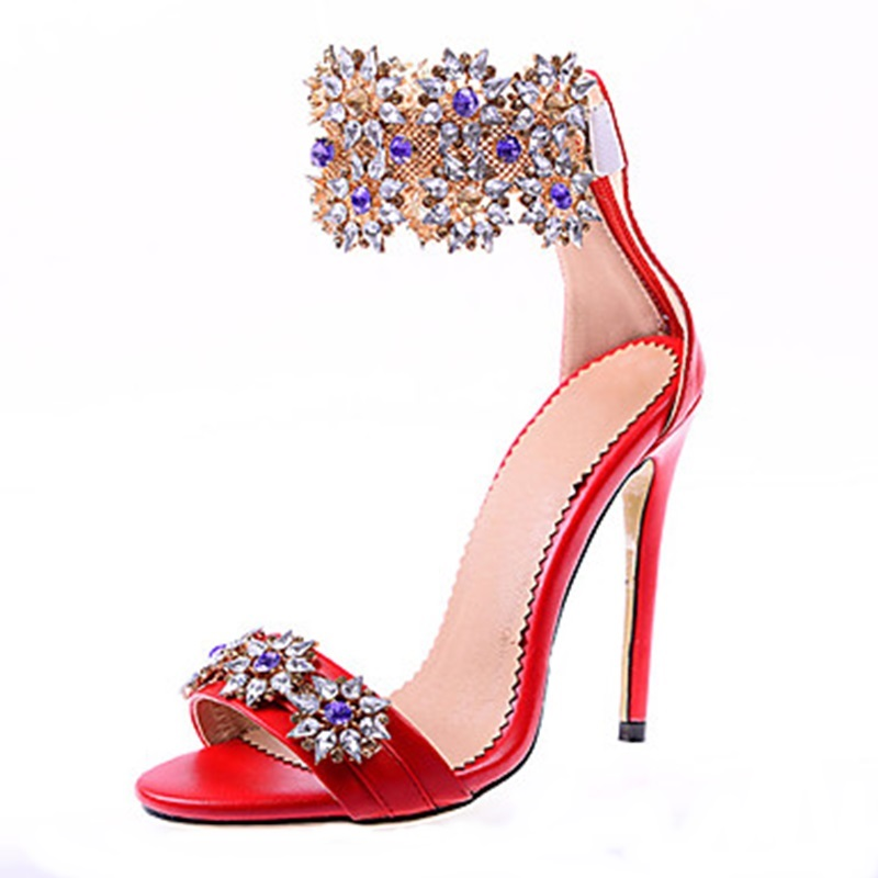 Shinny Crystal Lady Thin High Heels Sandals Shoes Ankle Wrap Open Toe Rhinestone Party Dress Women Summer Pumps Size 34-43 thin high heels open the toe ankle wrap women summer crystal sandal shoes lady rhinestone sexy sandals plus size 31 48 sxq0509