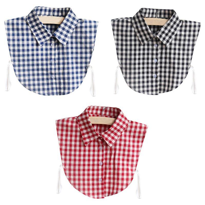 1Pc Women Vintage Gird Plaid Printed Blouse Sweater Vest Fake False Collar Detachable Cotton Half Shirt Tie Apparel Shirt Collar