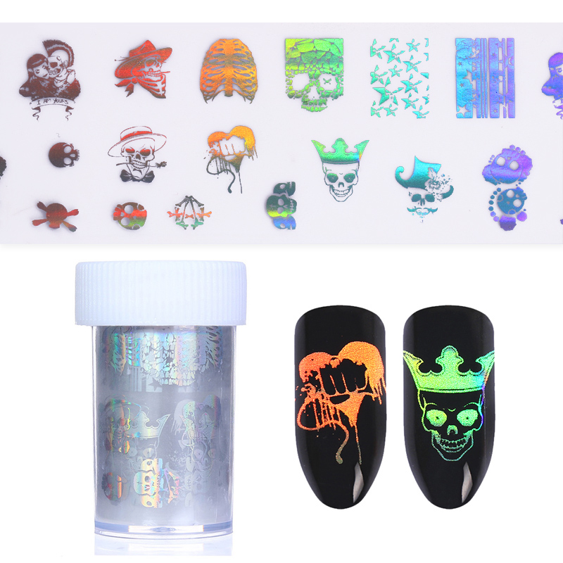 1 Roll Skull Holographic Starry Nail Foil Halloween Manicure Nail Art Transfer Sticker DIY Nail Tools 9 rolls colorful flower nail foil 4 100cm holographic starry full fingernail manicure nail art transfer sticker