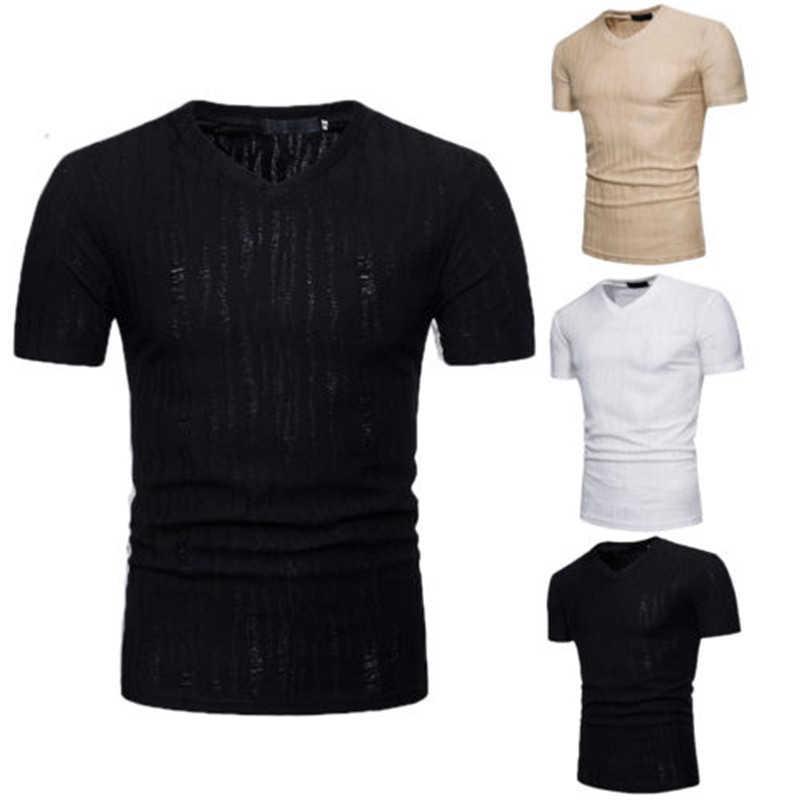 fashion mens wear slim fit Vneck line short sleeve T-shirt relaxation fitness tops