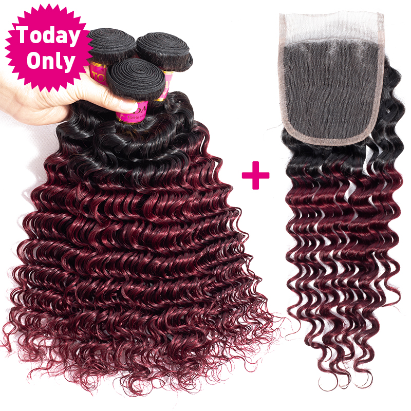 TODAY ONLY Malaysian Hair Bundles With Closure Deep Wave Bundles With Closure 1B 99J Ombre Human Hair Bundles With Closure Remy