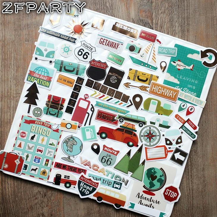 ZFPARTY 65 Uds viaje por carretera pegatinas para álbumes de recortes planificador feliz/fabricación de tarjetas/proyecto de diario colorido Adhesivos de fútbol para pared, decoración para habitación de niños, deportes, habitación de niño