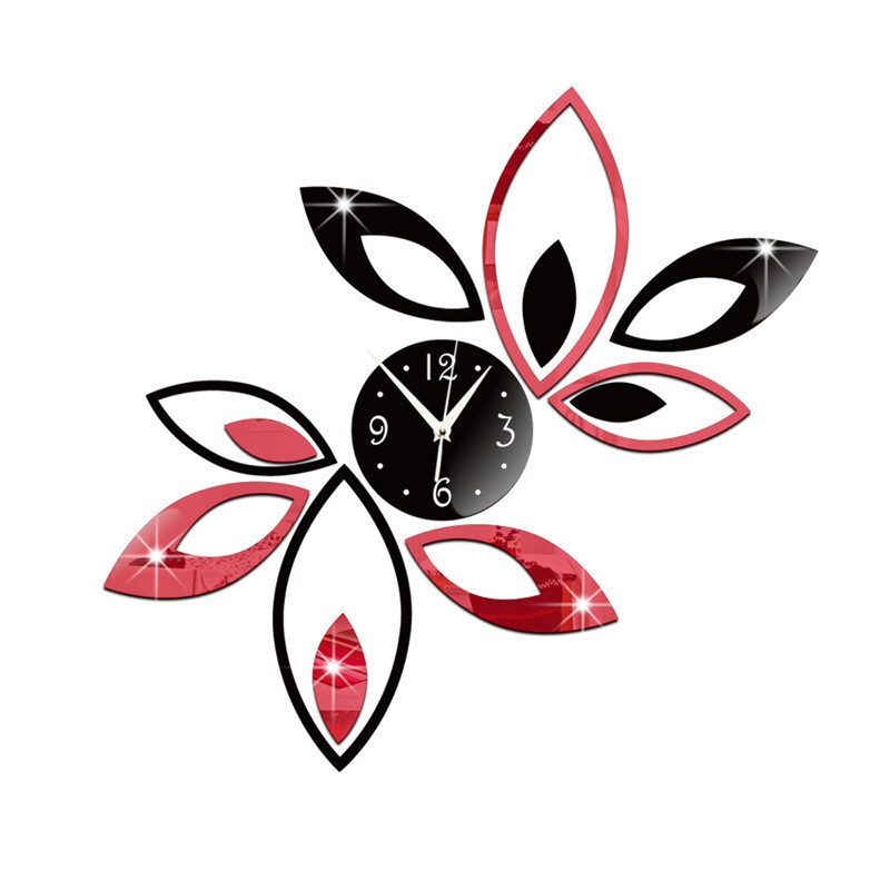 1 Set DIY Lotus Clock Digital Mirror Wall Clock Mute Wall Stickers Decorative Living Room Home Decor 1D