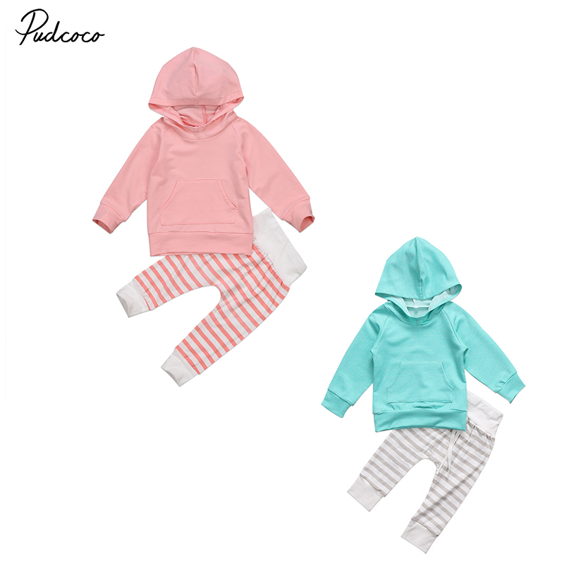 2 Pcs Floral Little Girl Warm Hooded Clothing Set Infant Babies Girl Hoodie Tops+Striped Pants 2 Colors Outfits Clothes Set
