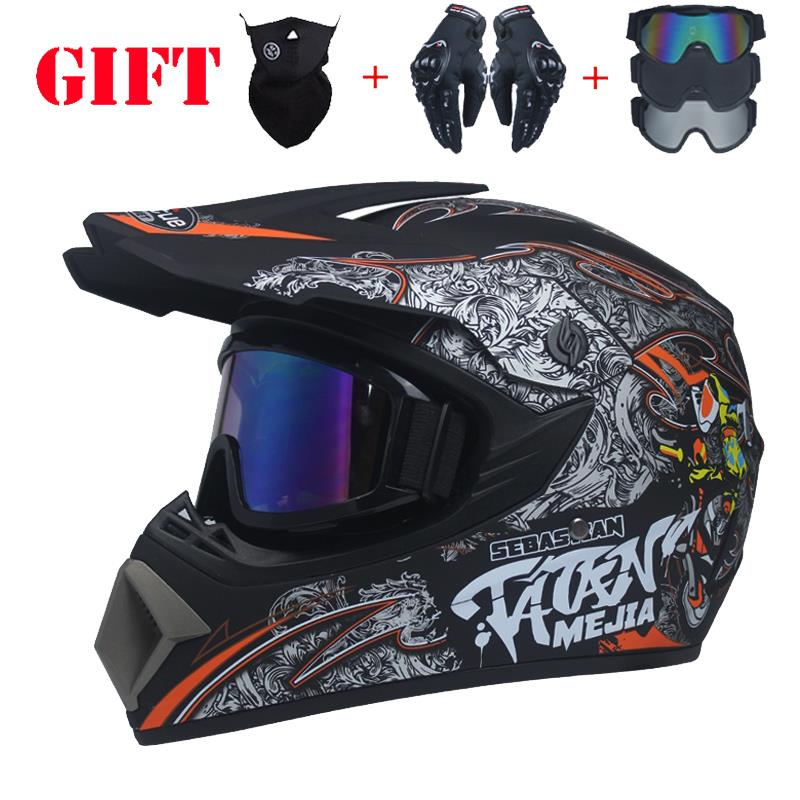 Send three gifts Motorcycle Men Motocross Motocross helmet Protective helmet ATV Off-road vehicle Downhill MTB DH Capacete DOT