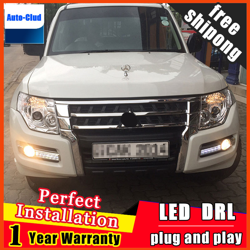 Auto Car Daytime Running Lights Fog Lamp White LED DRL Yellow Turn Signal Fit For Mitsubishi Pajero 2015 2016 2017 Free Shipping 2pcs waterproof white and yellow car headlight cob led daytime running lights drl fog lights with turn signal light in russia