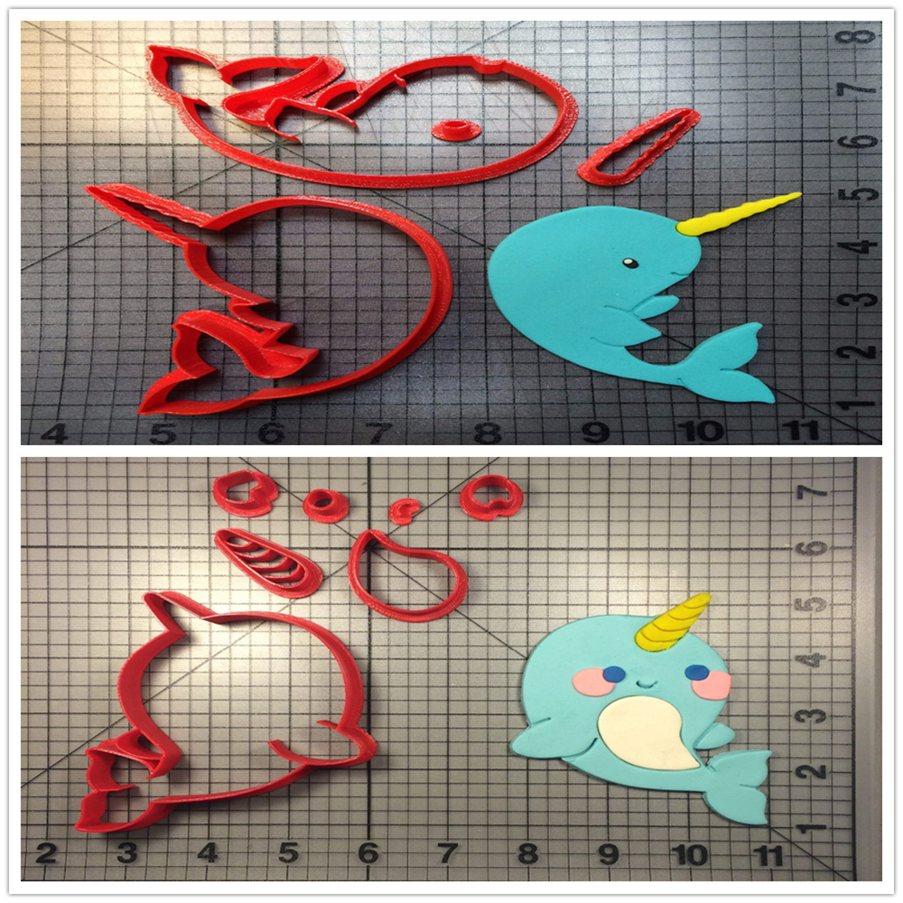 Oversea Narwhal Custom Made 3D Printed Fondant Cupcake Top Kitchen Accessories Cookie Cutter Set