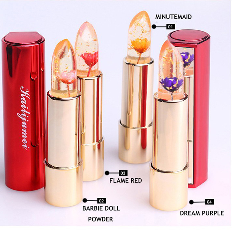 kailijumei jelly lipstick lips care makeup Temperature Change magic lip stick Gold foil flower Nourish Moisturizing Mirror 1pcs hengfang h9267 temperature changed lipstick moisturizer lips