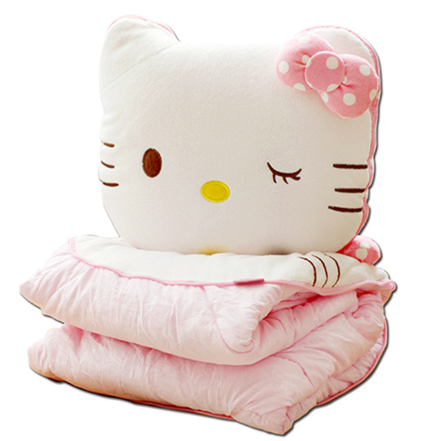 Hello Kitty Fleece Deken.Us 35 0 Cartoon Hello Kitty Kussen Deken Drie In Een Handwarmer Kussen Quilt Tweeerlei Gebruik Coral Fleece Deken Kussen In Cartoon Hello Kitty