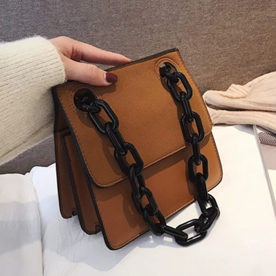 Image 3 - Casual Acrylic Chains Lattice Shoulder Bag Women Handbags Crossbody Bags Lady Brands Small PU Leather Flap Bolsa Messenger Bags-in Shoulder Bags from Luggage & Bags