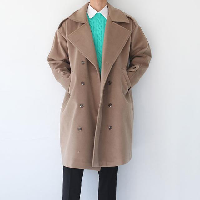 Moda hombre trench 2017 hombres otoño y el invierno clásico color sólido foso de la manera ropa de abrigo abrigo de invierno para hombre