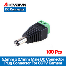 "AHCVBIVN מכירה גדולה 100 יחידות DC מחבר טלוויזיה במעגל סגור זכר תקע מתאם כבל UTP מצלמה וידאו Balun מחבר 5.5x2.1 מ""מ משלוח חינם"